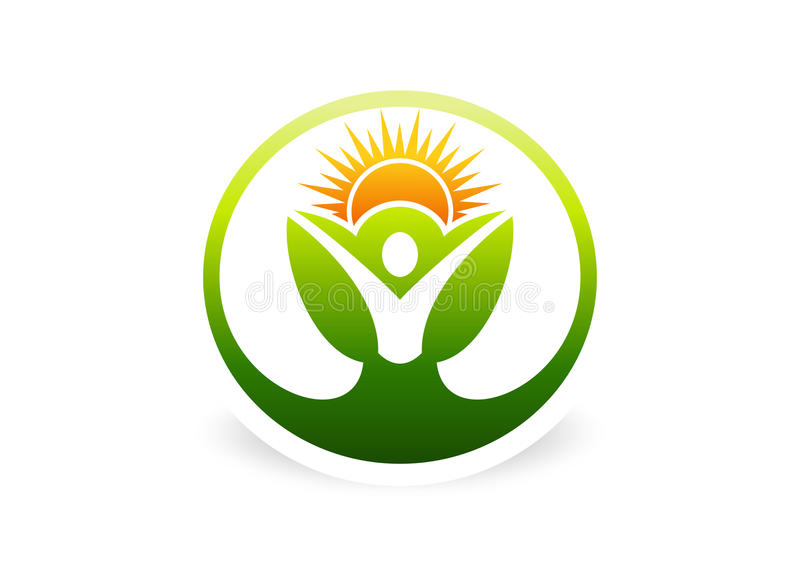 Corps, usine, santé, botanique, naturelle, écologie, logo, icône, symbole illustration libre de droits