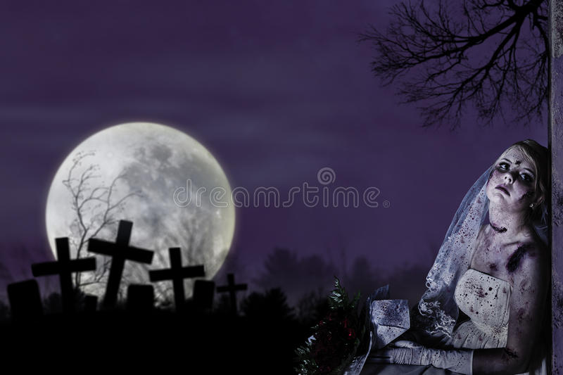 Download Corpse Bride With Grunge Wall Stock Photo - Image: 26671312