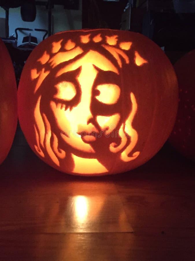 Corpse bride pumpkin royalty free stock image