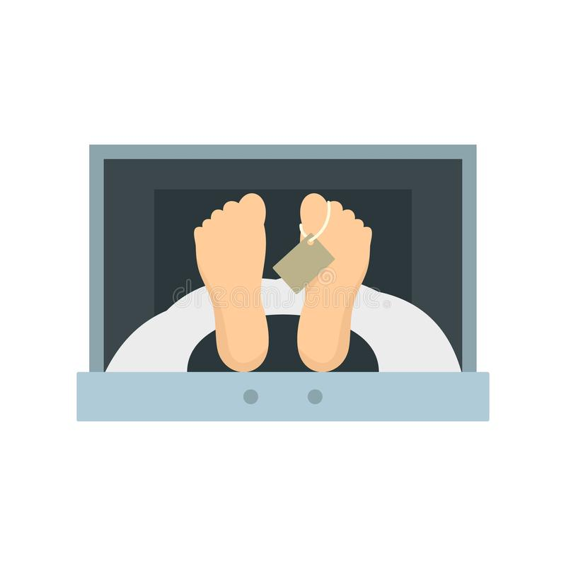 Corpse in forensic cell icon, flat style. Corpse in forensic cell icon. Flat illustration of corpse in forensic cell vector icon for web design stock illustration