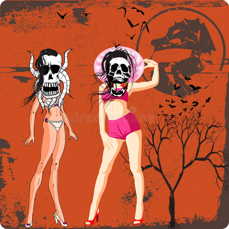 Corpses. Vector grunge and horror picture, corpse boy and girl royalty free illustration