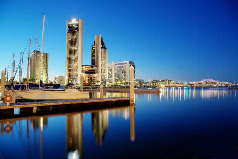 Corpus Christi. Marina and American Bank Center in Corpus Christi, Texas