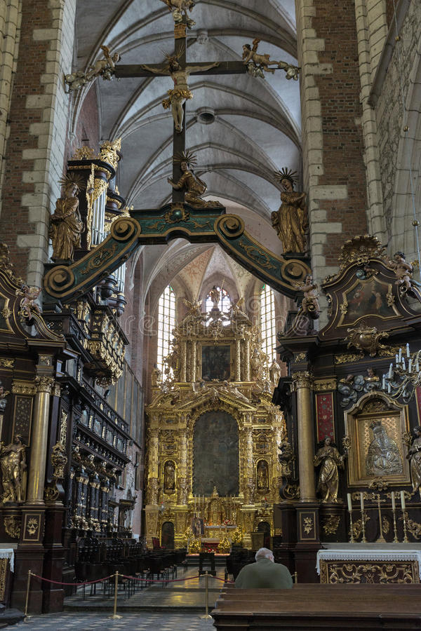 Corpus Christi Basilica indoor in Jewish district Kazimierz. Krakow stock images