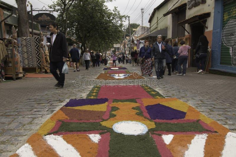 Corpus Christi carpets enchant believers and tourists in Embu da. Embu das Artes, SP, Brazil, Jun, 15th 2017 Public Holiday. Corpus Christi carpets enchant stock photos