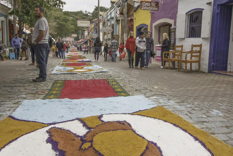 Corpus Christi carpets enchant believers and tourists in Embu da. Embu das Artes, SP, Brazil, Jun, 15th 2017 Public Holiday. Corpus Christi carpets enchant royalty free stock photos