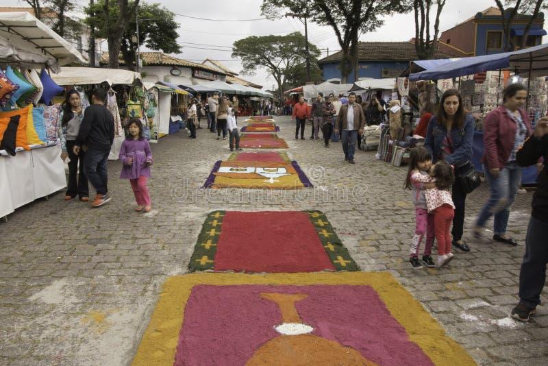 Corpus Christi carpets enchant believers and tourists in Embu da. Embu das Artes, SP, Brazil, Jun, 15th 2017 Public Holiday. Corpus Christi carpets enchant royalty free stock photo
