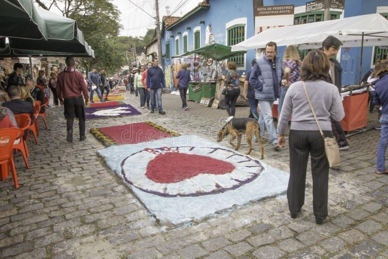 Corpus Christi carpets enchant believers and tourists in Embu da. Embu das Artes, SP, Brazil, Jun, 15th 2017 Public Holiday. Corpus Christi carpets enchant royalty free stock image