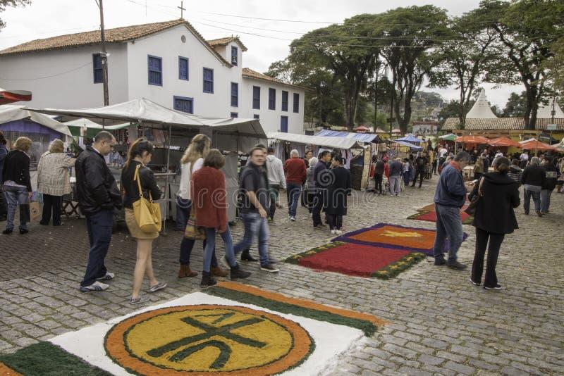 Corpus Christi carpets enchant believers and tourists in Embu da. Embu das Artes, SP, Brazil, Jun, 15th 2017 Public Holiday. Corpus Christi carpets enchant stock image