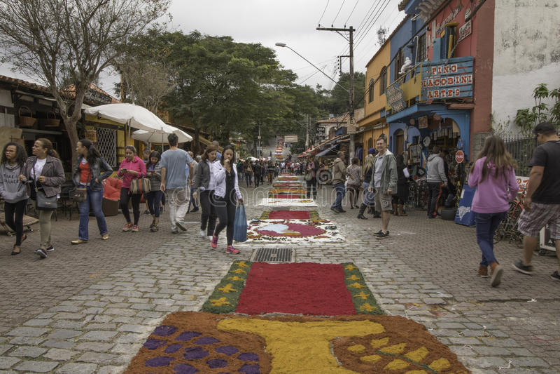 Corpus Christi carpets enchant believers and tourists in Embu da. Embu das Artes, SP, Brazil, Jun, 15th 2017 Public Holiday. Corpus Christi carpets enchant stock photography