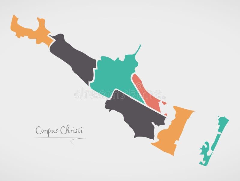 Corpus Christi Texas Map with neighborhoods and modern round shapes. Illustration royalty free illustration