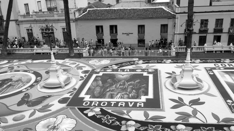Corpus Christi y La Orotava, alfombras de Tenerife fotos de archivo libres de regalías