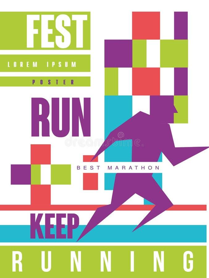 Corra o fest, mantenha correr, o cartaz colorido da melhor maratona, molde para o evento desportivo, campeonato, competiam, possa ilustração do vetor
