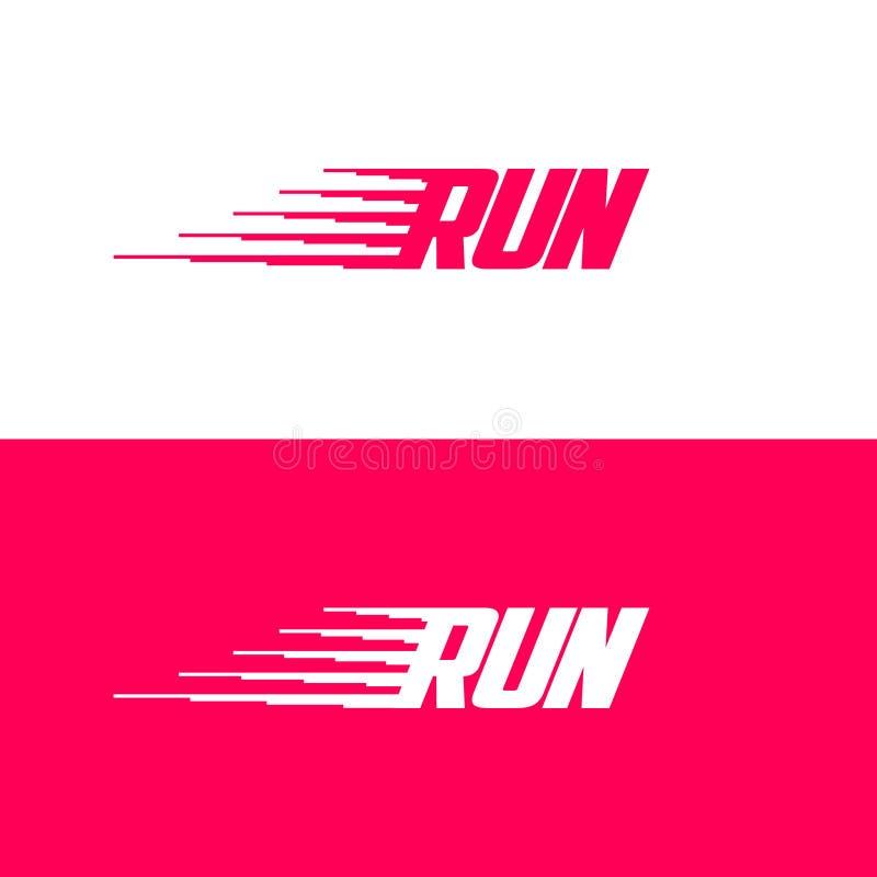 Corra o logotipo Ícone dinâmico do esporte Letras e símbolo do movimento Emblema para o tipo do esporte ilustração do vetor
