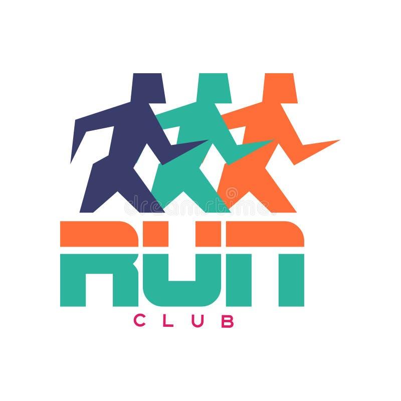 Corra o logotipo do clube, emblema colorido com as silhuetas running abstratas dos povos, etiqueta para o clube desportivo, compe ilustração royalty free