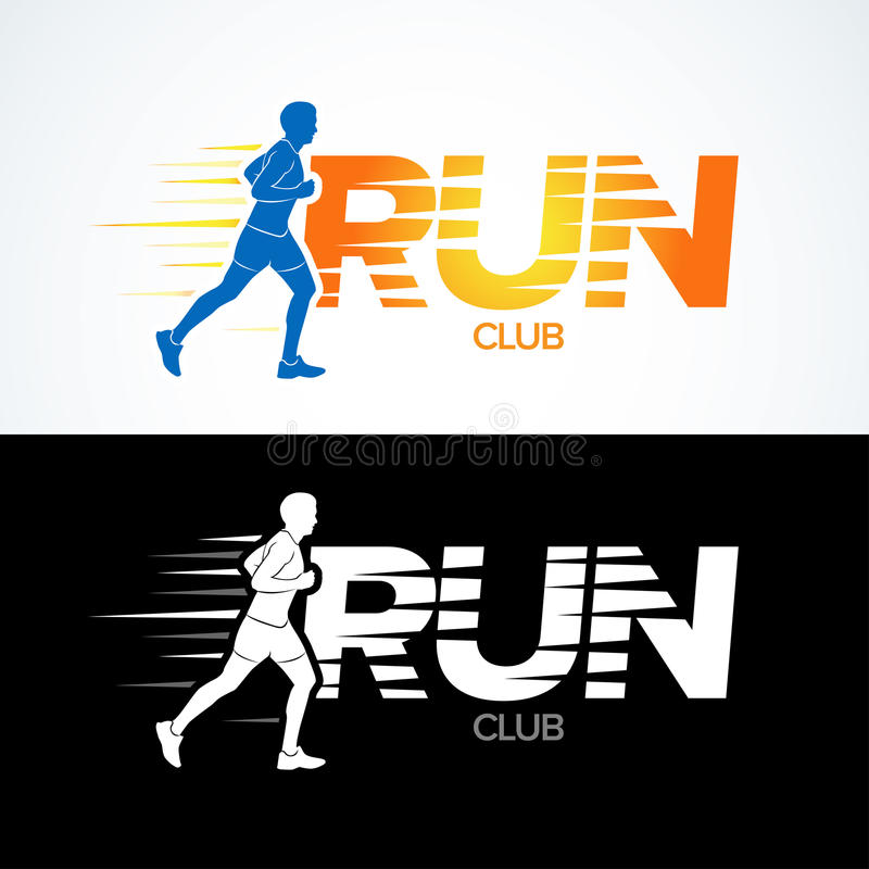 Corra o molde do logotipo do clube Ostente o molde do logotype, o clube desportivo, clube running e molde do projeto do logotipo  ilustração stock