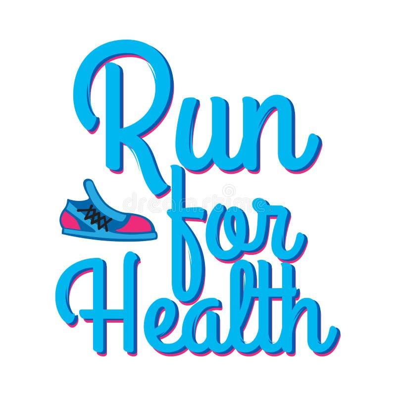 Corra para a saúde Credo da divisa com sapatilhas do esporte ilustração stock