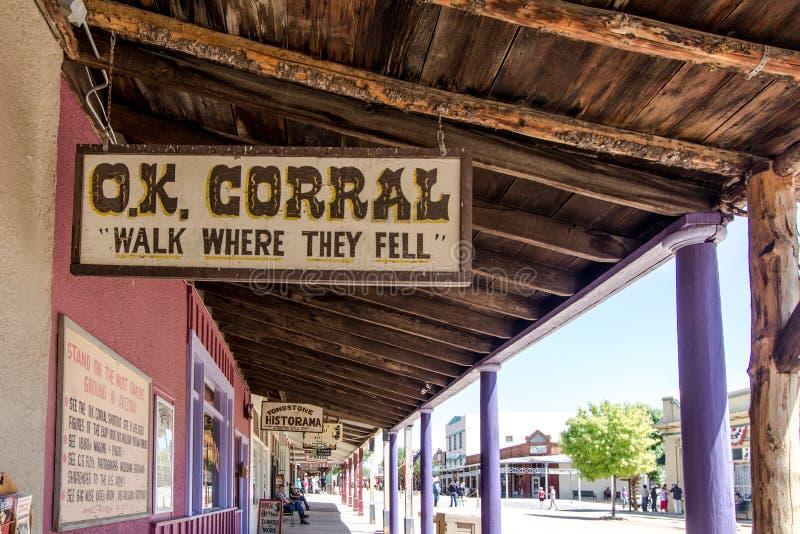 Corral aceptable en la piedra sepulcral Arizona foto de archivo