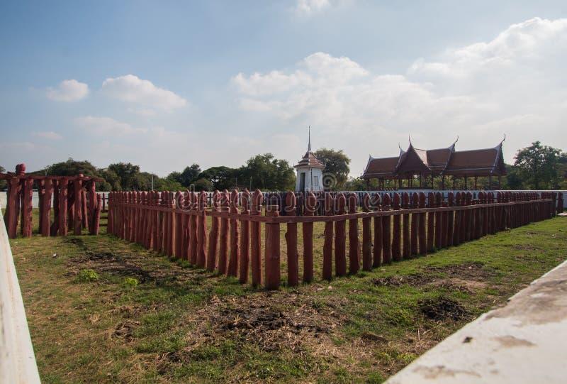 Corral del elefante de Tailandia en historia en Ayutthaya foto de archivo libre de regalías