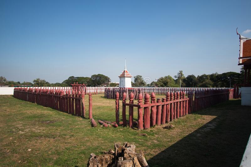 Corral del elefante de Tailandia en historia en Ayutthaya fotos de archivo libres de regalías