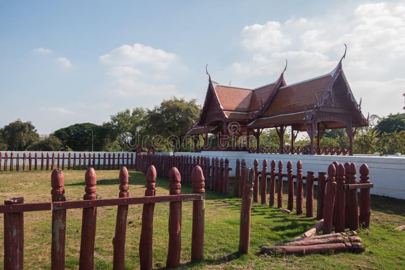 Corral del elefante de Tailandia en historia en Ayutthaya foto de archivo