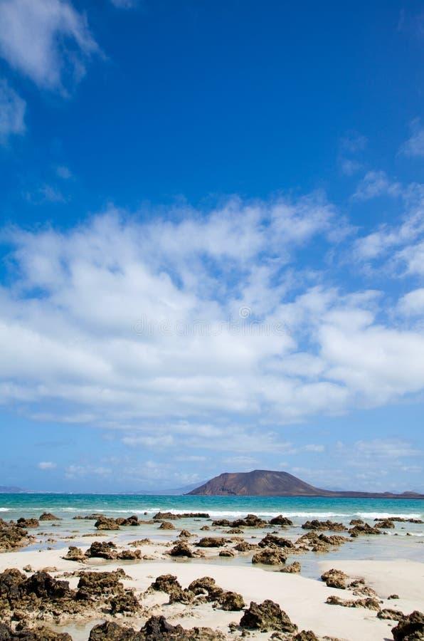 Corralejo标志海滩 库存图片