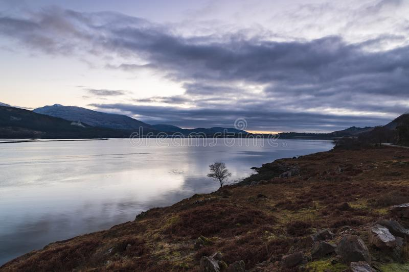 Corran Narrows. A sunset over Loch Linnie near the corran narrows and Ardgour, Lochaber, Scotland royalty free stock photography
