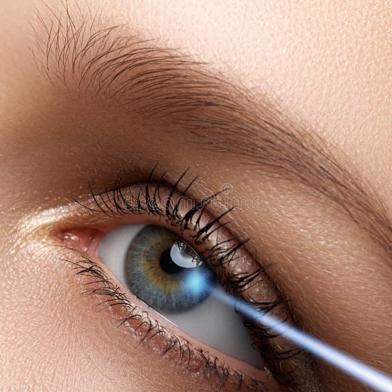 Correção da visão do laser Olho da mulher Olho humano Olho da mulher com fotos de stock