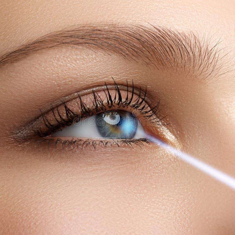 Correção da visão do laser Olho da mulher Olho humano Olho da mulher com imagem de stock royalty free