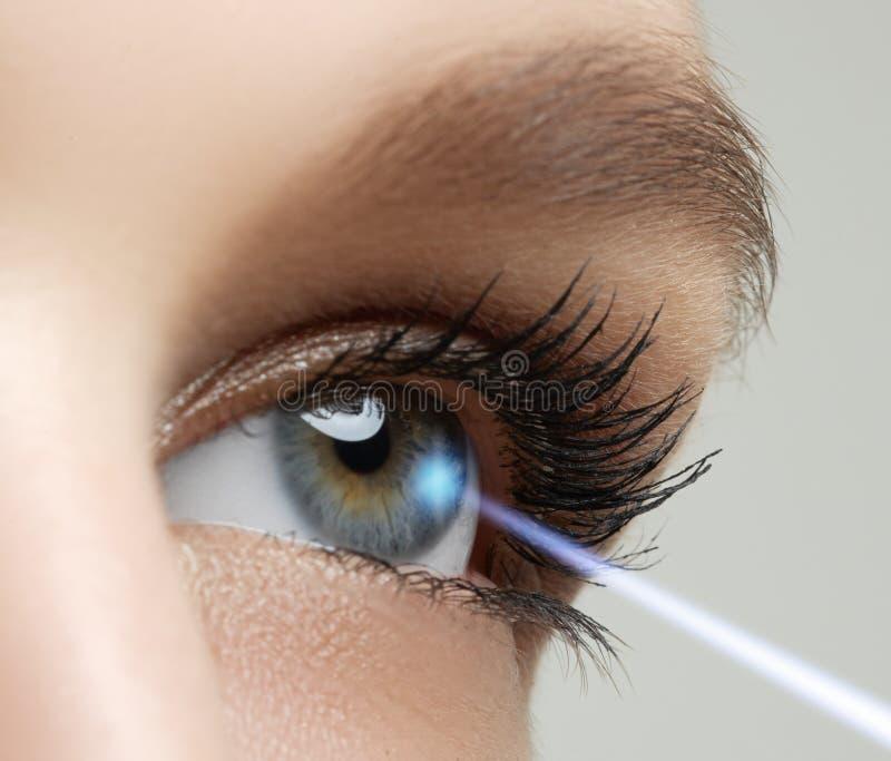 Correção da visão do laser Olho da mulher Olho humano Olho da mulher com foto de stock