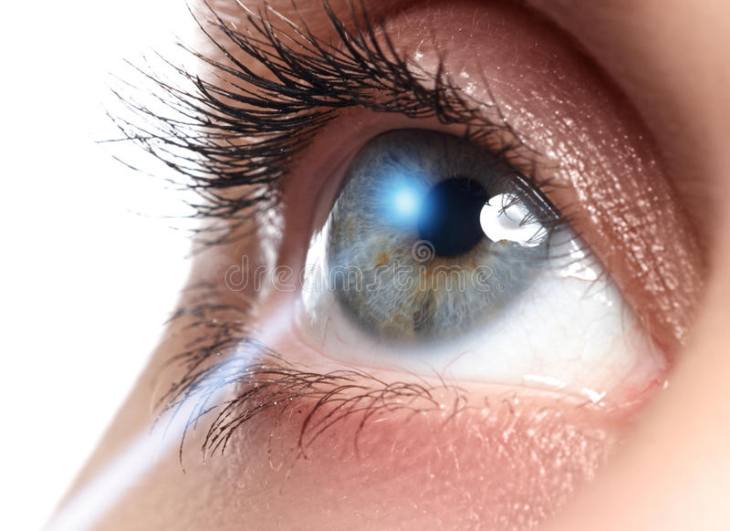 Correção da visão do laser Olho do ` s da mulher Olho humano Olhos azuis novos bonitos do olho da mulher? imagem de stock