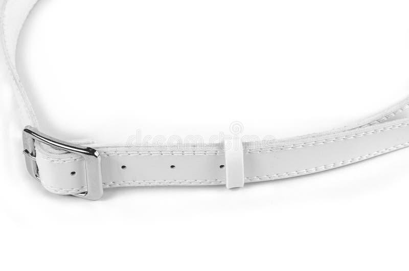 Correa de cuero blanca aislada foto de archivo libre de regalías