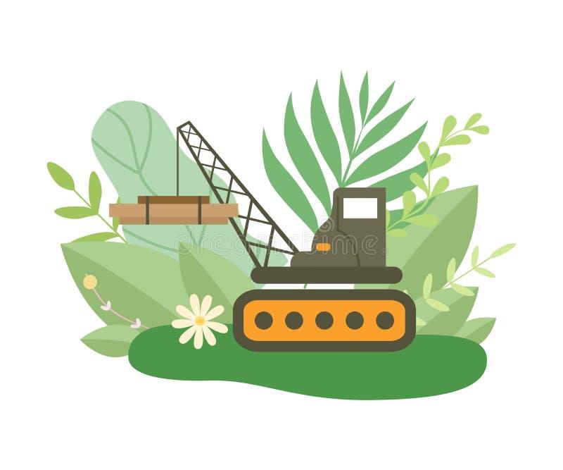 Correa eslabonada hidráulica Crane Lifting Heavy Load en la estación de la primavera o de verano con vector floreciente de las fl libre illustration