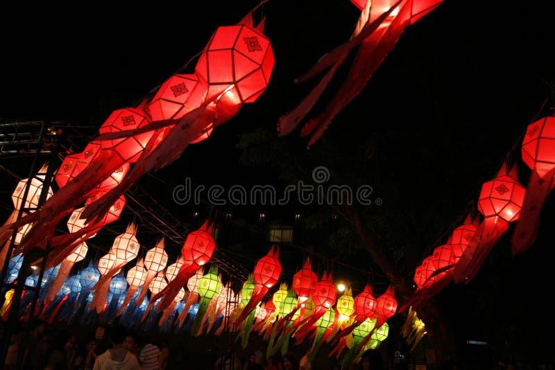 Correa hermosa de Loy Kra del festival de Yi peng de las linternas del cielo de ningún foto de archivo libre de regalías