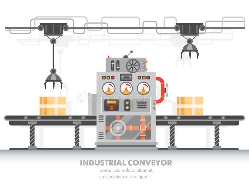 Correa horizontal del transportador robótico o de la fábrica elegante stock de ilustración
