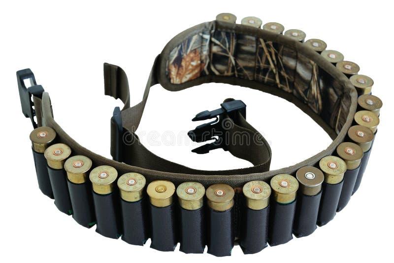 Correa y bandolera, insi de la munición de la munición del rifle del cazador de los cartuchos imágenes de archivo libres de regalías