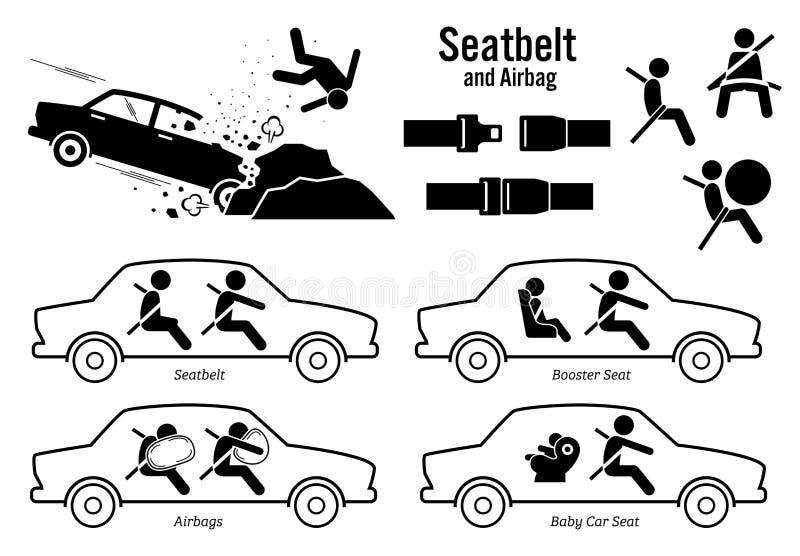 Correa y saco hinchable del asiento de carro ilustración del vector