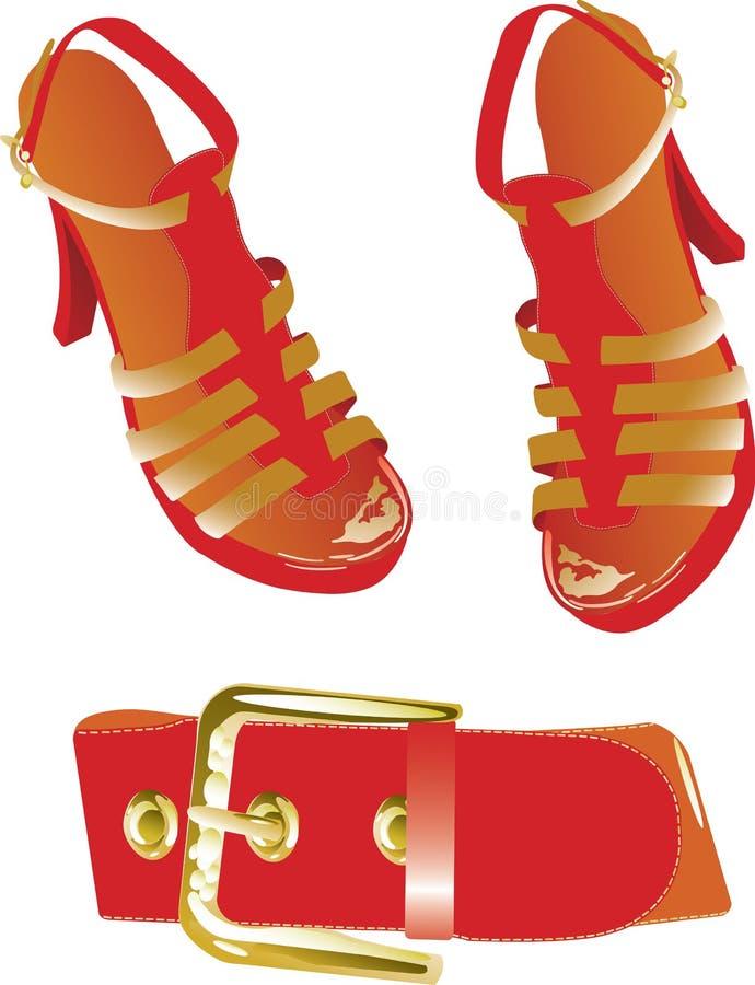 Correa y zapatos rojos stock de ilustración