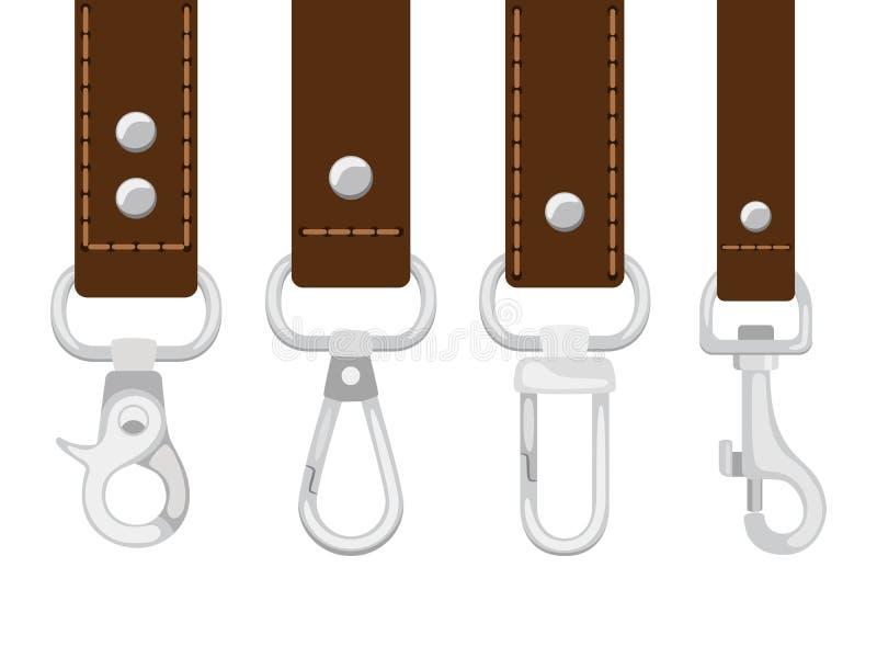 Correas de cuero con vector de la colección del corchete del carabine ilustración del vector