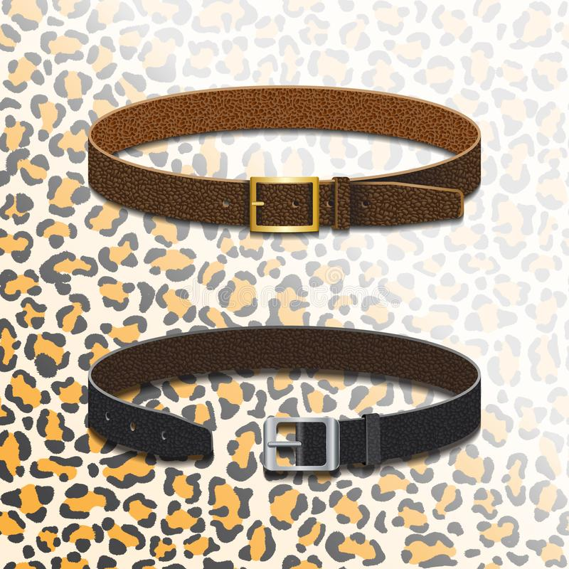 Correas de cuero en el fondo de una piel del leopardo libre illustration