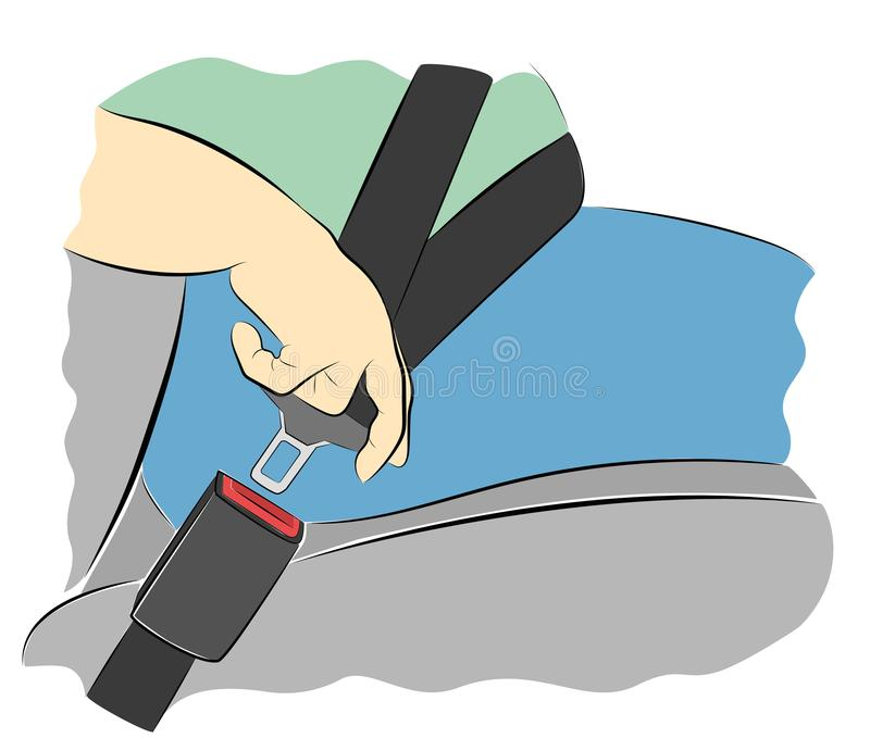 Correas del hombre en el coche seguridad Ilustraci?n del vector ilustración del vector