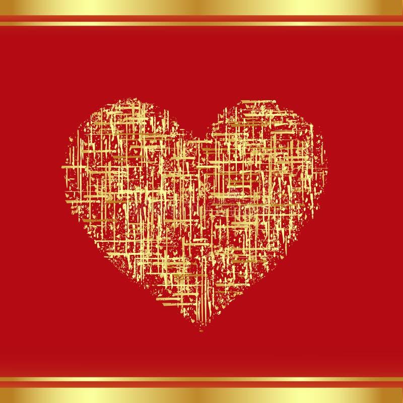 Correcção de programa-Coração no ouro ilustração stock
