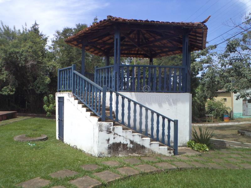 Correct, ancient antiquity square. Correct, square old building with two centuries in the city of Cocais, municipality of Barrão de Cocais stock photo