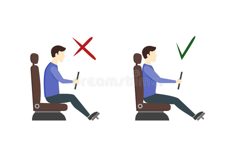 Correct and Incorrect Driving Position Flat Set. Vector vector illustration