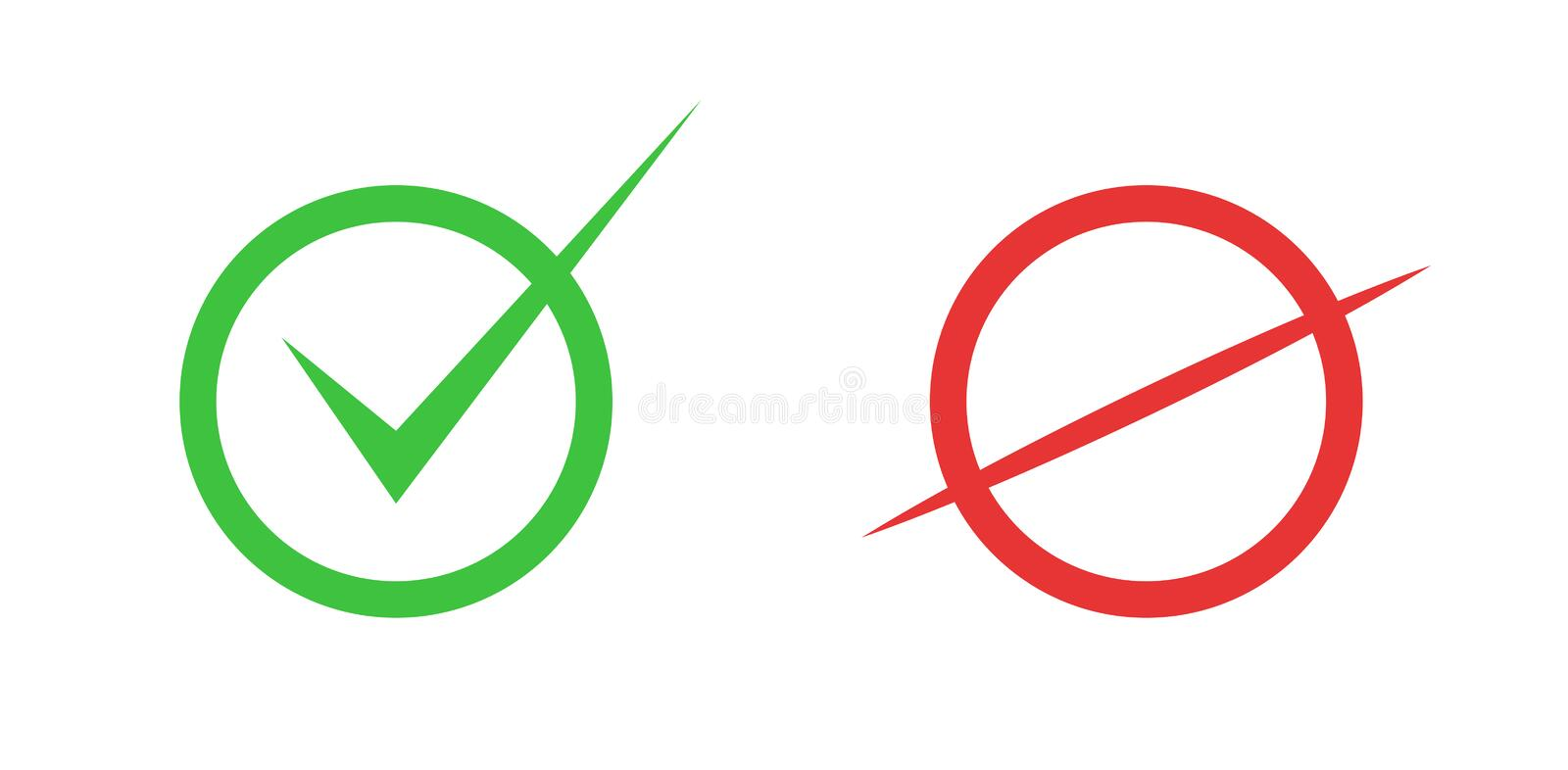 Correct and incorrect icons. True and false signs. Vector. True and false signs. Correct and incorrect icons stock illustration