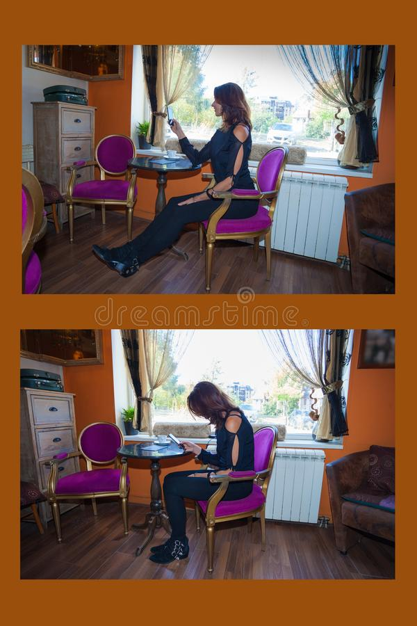 Correct and incorrect sitting in this example woman sit in a cafe using smartphone. Side view stock photo