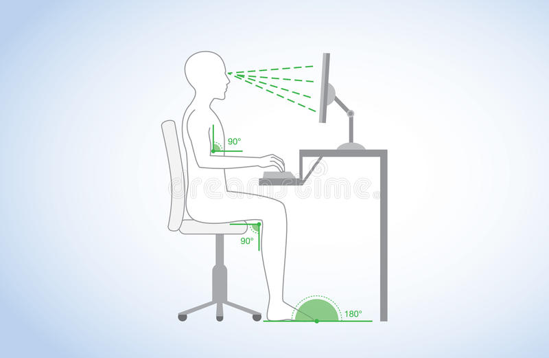 Correct posture and body angle in sitting working vector illustration