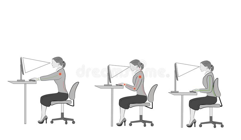 Correct sitting at desk posture ergonomics advices for office workers: how to sit at desk when using a computer vector illustration