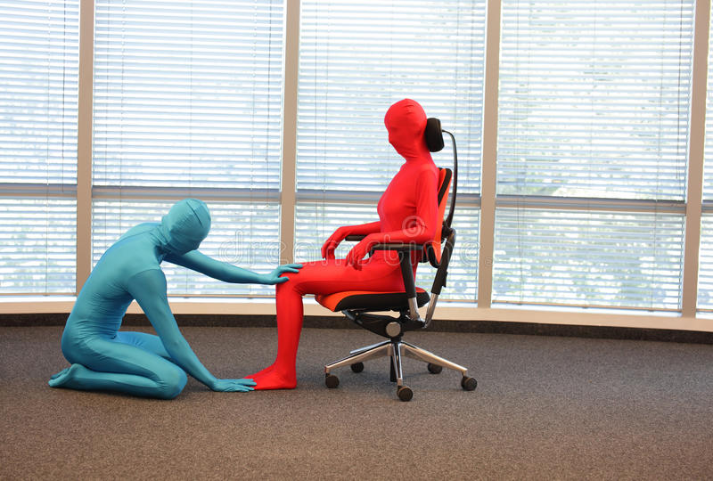 Correct sitting position on office armchair training royalty free stock photography