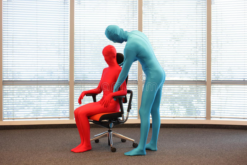 Correct sitting position on office armchair training royalty free stock images