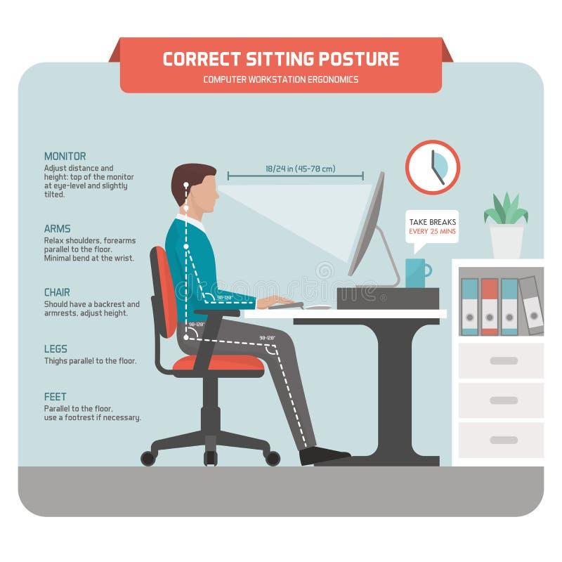 Free Correct Sitting Posture At Desk Stock Photo - 90415760